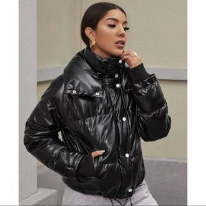 SHEIN Zip up PU puffer jacket XL NWT